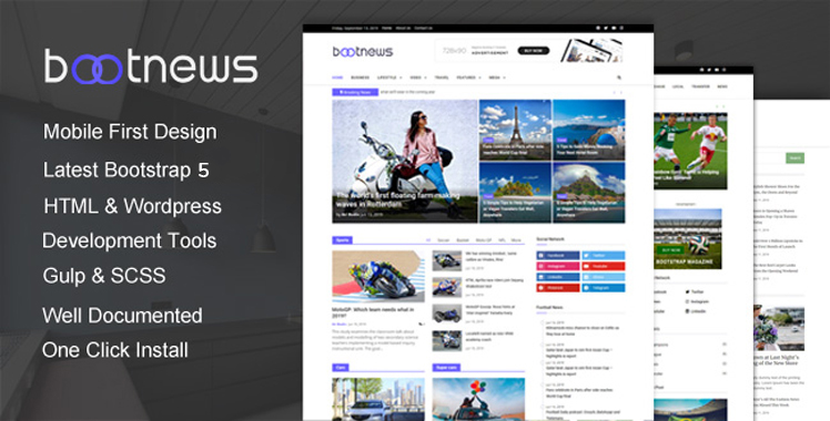 Bootnews - Bootstrap 4 News Magazine Template